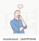 pensive businessman thinking...   Shutterstock .eps vector #1669993648