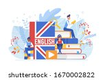 People Learning English Vector...