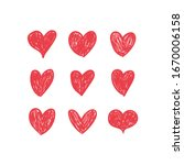 doodle hearts  hand drawn love... | Shutterstock .eps vector #1670006158
