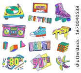80's and 90's pop art style... | Shutterstock .eps vector #1670040538