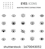 eyes simple line icon set... | Shutterstock .eps vector #1670043052