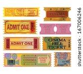 vector vintage ticket set.    Shutterstock .eps vector #167006246