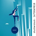 the debt. businessman climbs a... | Shutterstock .eps vector #1670069818
