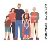 big family portrait. father ... | Shutterstock .eps vector #1670077345