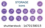 editable 14 storage icons for... | Shutterstock .eps vector #1670158015