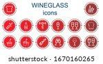 editable 14 wineglass icons for ... | Shutterstock .eps vector #1670160265