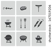 vector black barbecue icons set ... | Shutterstock .eps vector #167019206