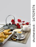breakfast  croissants and cup... | Shutterstock . vector #167029376