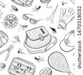 fishing seamless pattern. fly... | Shutterstock .eps vector #1670318032