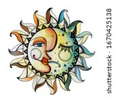 the solar disk is divided into... | Shutterstock . vector #1670425138