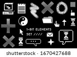 set of pixel art elements in...