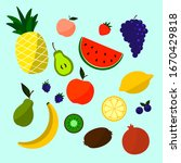 colored doodle fruits. vector... | Shutterstock .eps vector #1670429818