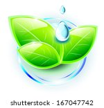 green plant with blue drops on... | Shutterstock . vector #167047742
