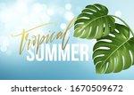 tropical summer lettering on... | Shutterstock .eps vector #1670509672