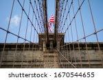 Brooklyn Bridge With American...