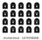 cute black ghost emoji ... | Shutterstock .eps vector #1670558308