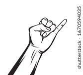 Pinkie Finger. Line Art. Vecto...