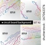 set of circuit board pattern.... | Shutterstock .eps vector #167062376