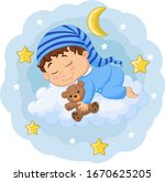 cartoon baby sleeping with... | Shutterstock .eps vector #1670625205