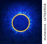 abstract circle ray on blue... | Shutterstock .eps vector #1670635018
