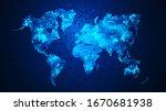 dot world map against the grid... | Shutterstock . vector #1670681938