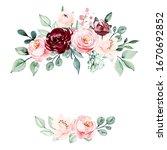 Wreath Of Watercolor Flowers...