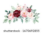 Floral Border Of Watercolor...