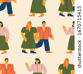 seamless pattern with cool and... | Shutterstock .eps vector #1670715415