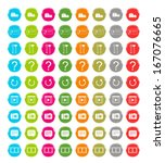 set of web icons in blue  green ... | Shutterstock . vector #167076665