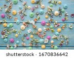 meringues on a blue wooden... | Shutterstock . vector #1670836642