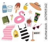 set of summer elements... | Shutterstock .eps vector #1670905162