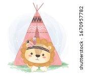 watercolor tribal lion... | Shutterstock .eps vector #1670957782