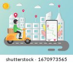 officers deliver goods to the...   Shutterstock .eps vector #1670973565