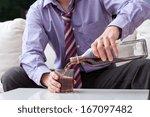 an elegant man suffering from... | Shutterstock . vector #167097482