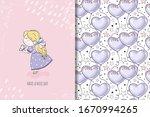 little girl in beautiful violet ... | Shutterstock .eps vector #1670994265