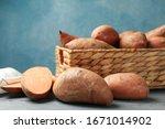 Sweet Potato In Basket On...