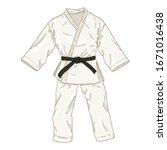 white karate kimono with black...   Shutterstock .eps vector #1671016438