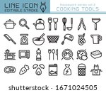 cooking tools vector icon set.... | Shutterstock .eps vector #1671024505