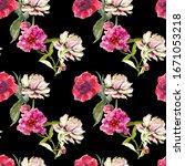 seamless peonies pattern on...   Shutterstock . vector #1671053218