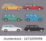 hatchback car cartoon vector... | Shutterstock .eps vector #1671059098