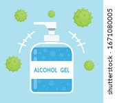 alcohol gel. hand wash gel... | Shutterstock .eps vector #1671080005