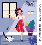 sweet home background happy...   Shutterstock . vector #1671085408