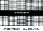 Plaid Pattern Set In White And...