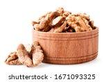 Peeled Walnut In A Wooden Plate ...