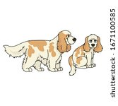 cute cartoon cocker spaniel dog ...   Shutterstock .eps vector #1671100585