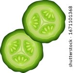fresh cucumber slices isolated... | Shutterstock .eps vector #1671101368