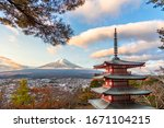chureito pagoda  mount fuji and ... | Shutterstock . vector #1671104215