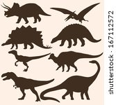 vector set of 8 dinosaurs... | Shutterstock .eps vector #167112572