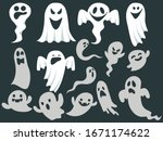 ghost icons. scary white ghosts ... | Shutterstock .eps vector #1671174622