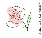 flower vector one line art logo.... | Shutterstock .eps vector #1671182842